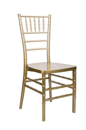 "Gold Resin ""Mono-Frame"" Chiavari Chair, FREE Velcro Strap Cushion"
