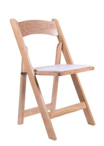 Natural Wood Folding Chair with Tan Seat