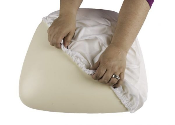 White Spandex Cover for Wood Base Cushion