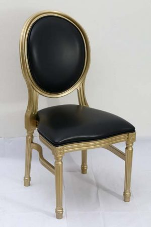 Gold Resin Louis Pop Chair with Black Back Rest