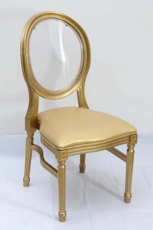 Gold Resin Louis Pop Chair with Clear Back Rest