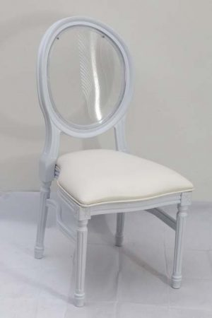 White Resin Louis Pop Chair with Clear Back