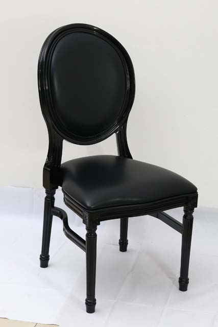 Black Resin Louis Pop Chair with Black Back Rest