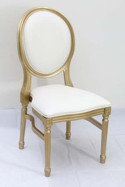 Gold Resin Louis Pop Chair with White Back Rest