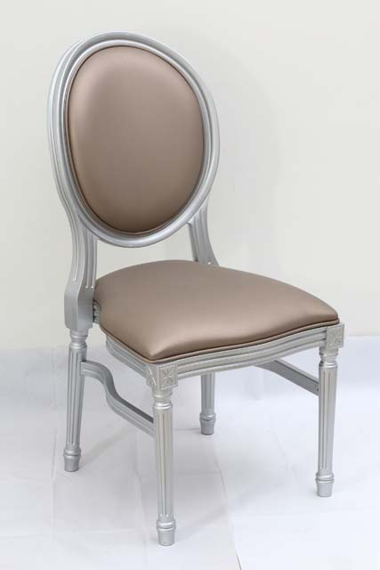 Silver Resin Louis Pop Chair with Bronze Back Rest