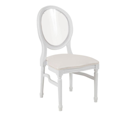 White Louis Pop Chair With Clear Back