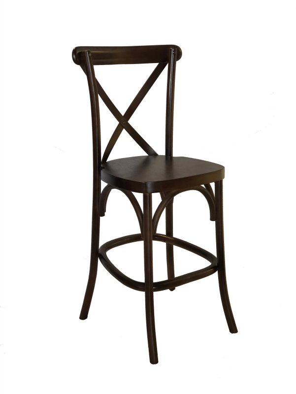 espresso wood counter height cross back stool