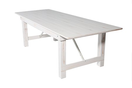 distressed antique white 96x40 pine farm table 1