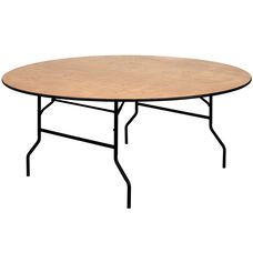72 inch round plywood banquet table with vinyl edge