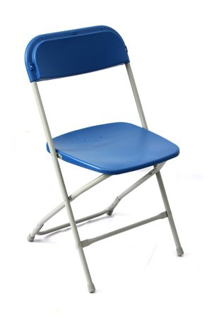 blue poly plastic folding chair