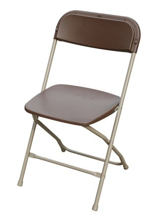 brown poly plastic folding chair
