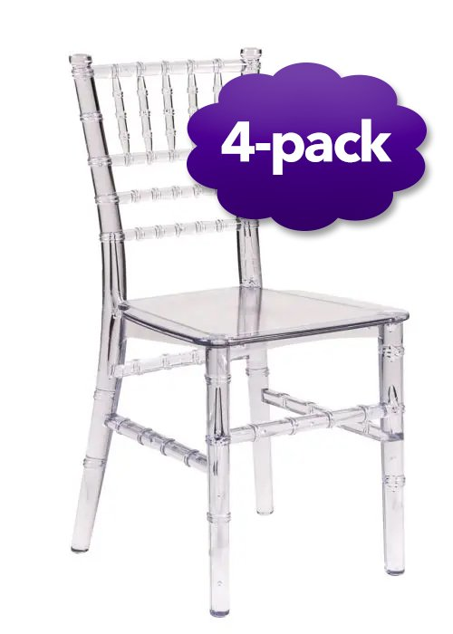 childrens chair clear resin 4-pack