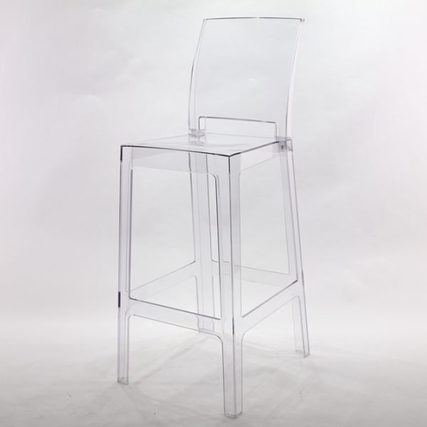 Clear Ghost Barstool with Square Back